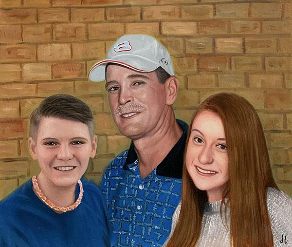 Custom oil artwork of a grandfather with grandchildren