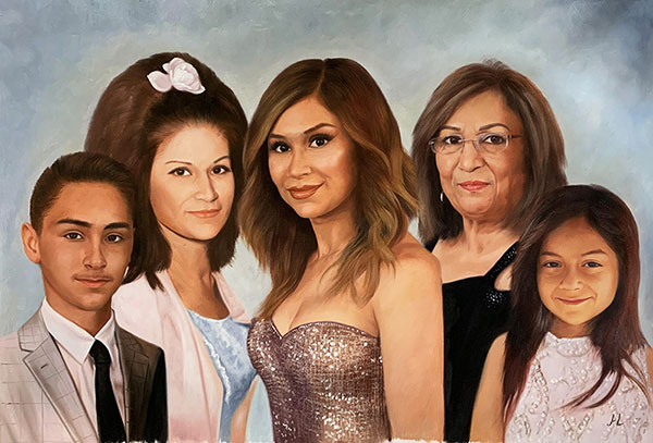 Stunning oil portrait of a family