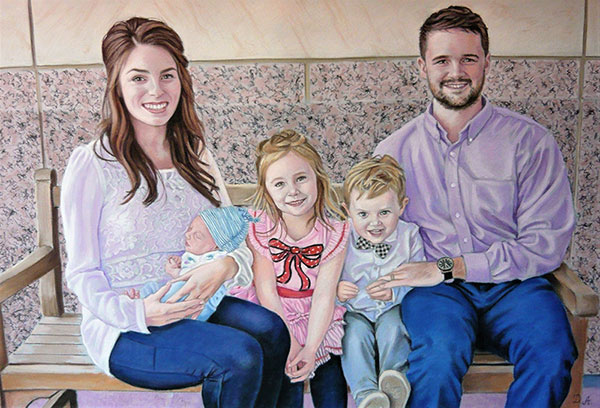 Gorgeous pastel painting of a family