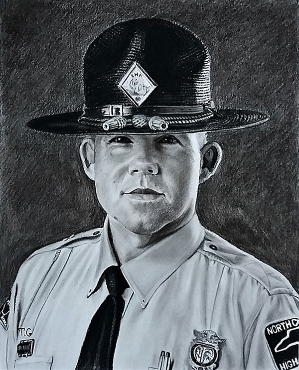 Hand drawn charcoal painting of a man
