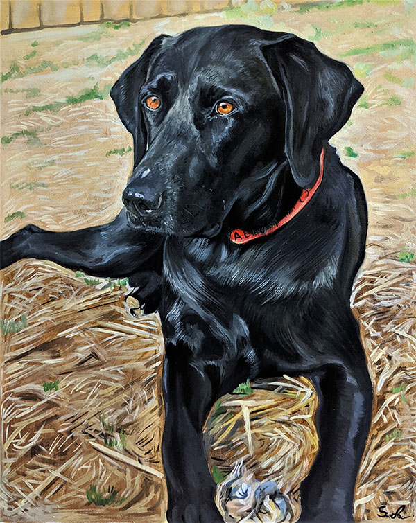 Beautiful oil painting of a black dog