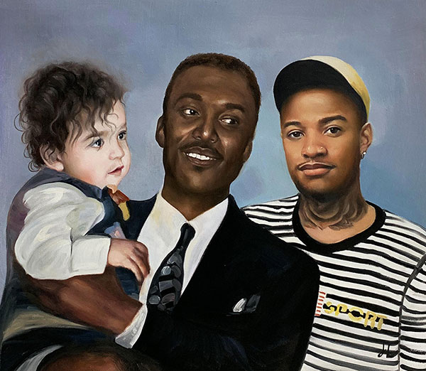 Beautiful oil painting of a family