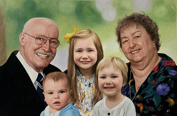 Custom oil painting of the family