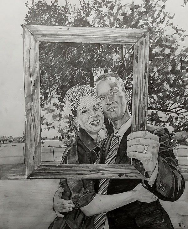 Beautiful black pencil artwork of a happy couple