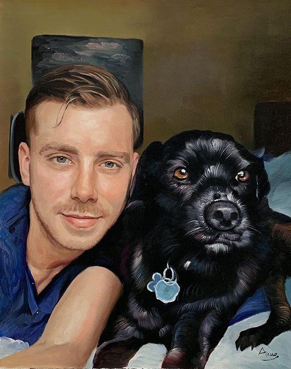 Close up oil painting of a man with a dog