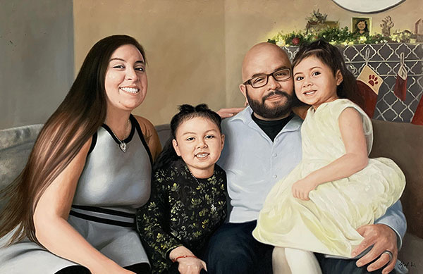 Beautiful oil portrait of a family