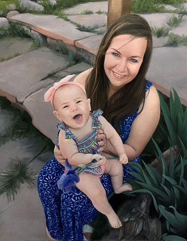 an oil painting of a mother holding a toddler