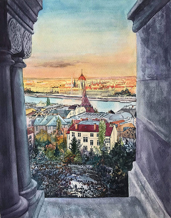 custom watercolor painting of houses from a view