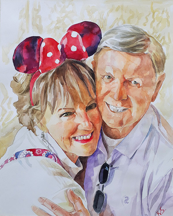 custom watercolor painting of Man and woman at Disneyland