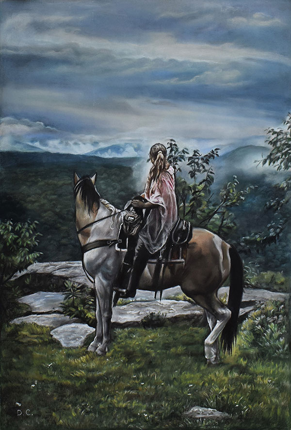 pastel painting of a horse and rider