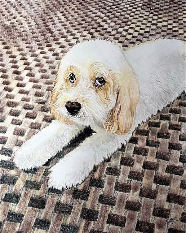Beautiful color pencil painting of a dog