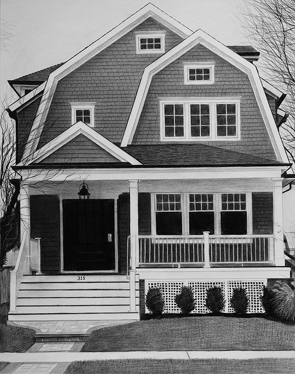 house portrait in charcoal