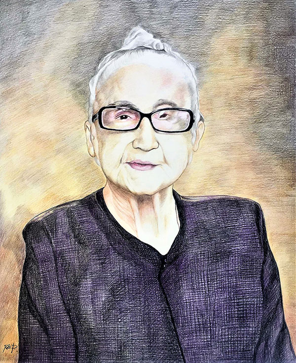 Personalized color pencil portrait of a woman