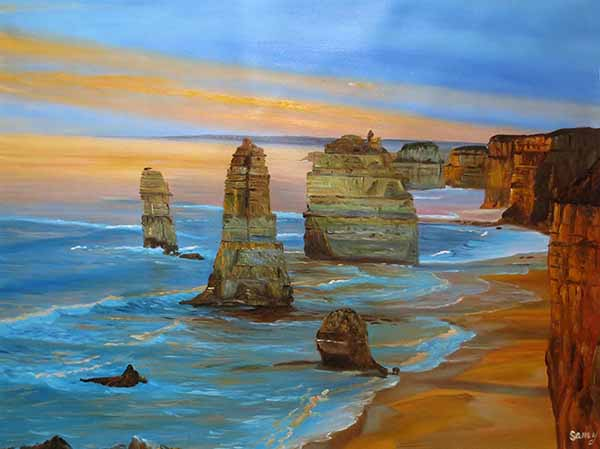 Beautiful oil painting landscape sunset sea crimson
