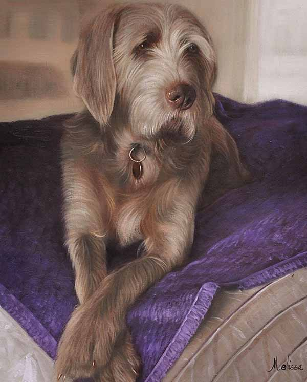 oil painting of a laying dog