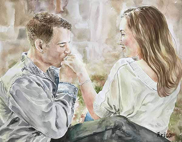 Couple painting watercolor beautiful proposal gift