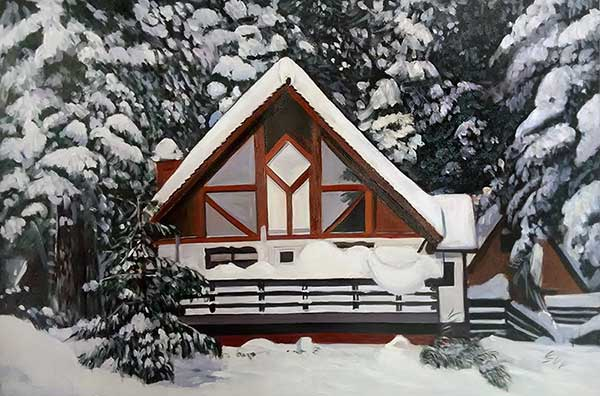 Custom oil painting of a wooden house in the snow