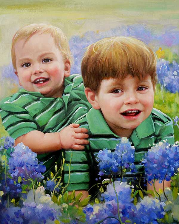 an oil painting of siblings in the meadow of blue flowers