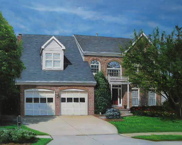 Handmade oil painting of a brick house