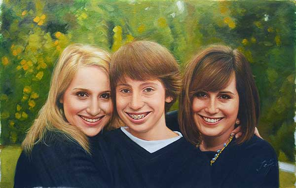 a custom oil paintng of a family outdoors
