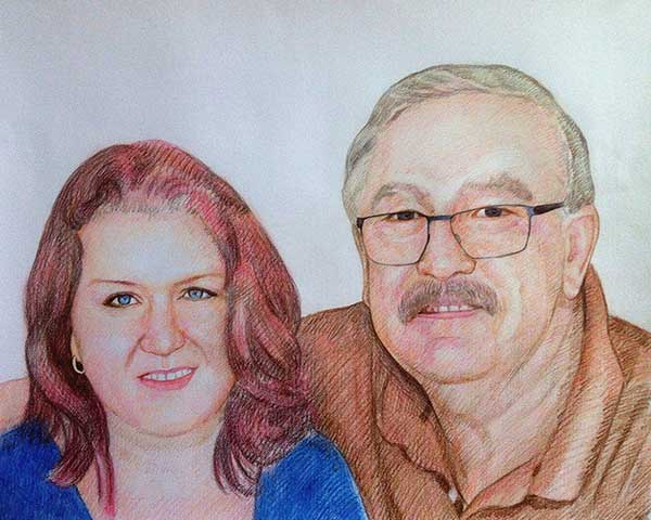 custom colored pencil drawing of a couple hugging