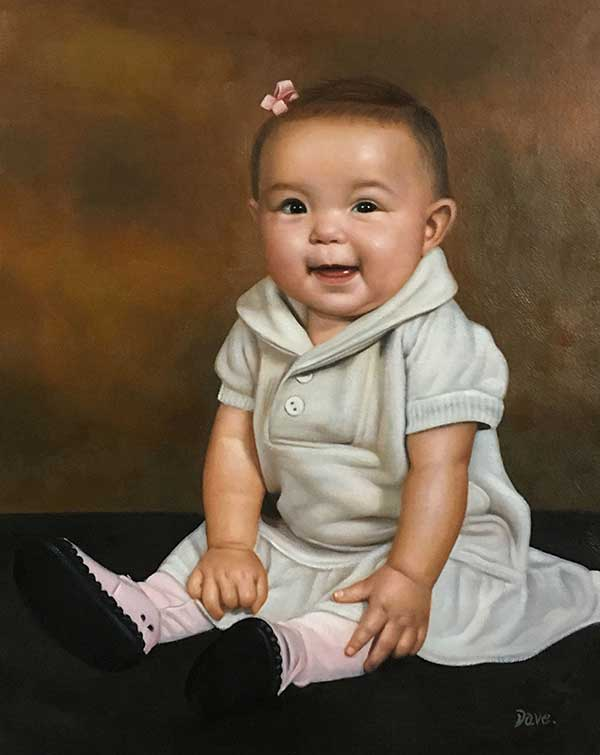 a custom oil portraot of a toddler smiling