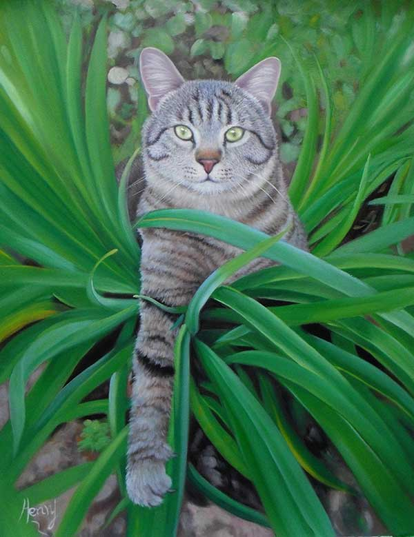 oil canvas portrait of cat with green eyes