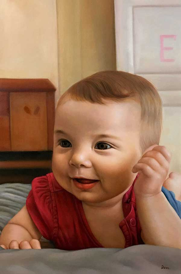 bambino ritratto ad olio da fotografia
