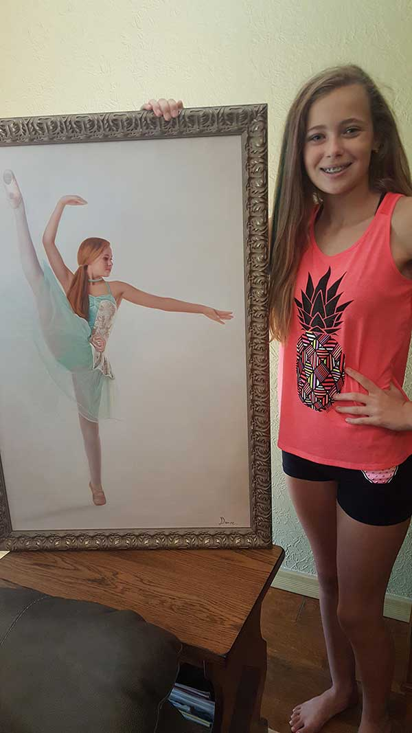 a  custom oil painting of a girl dancing