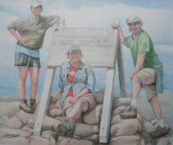 colored pencil drawing of friends hiking the Appalachian