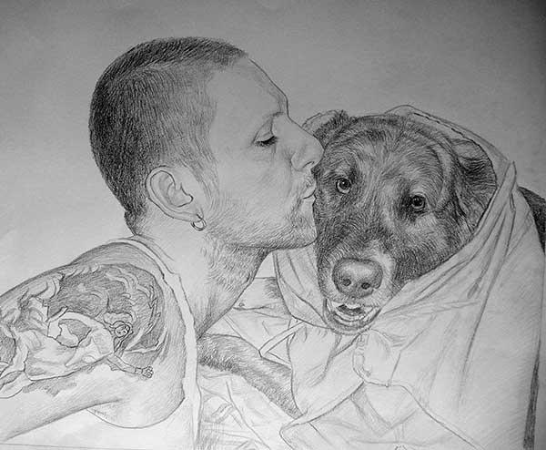 disegno a carboncino di cane e proprietario
