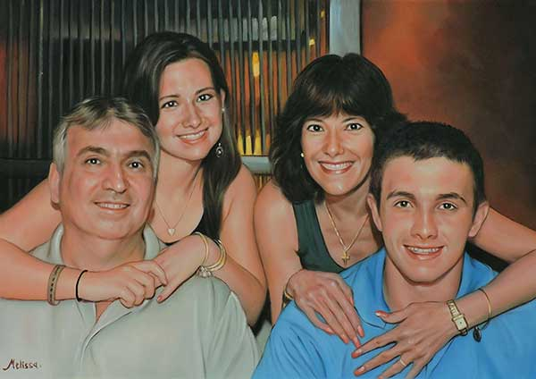 a custom oil painting of family in the restourant