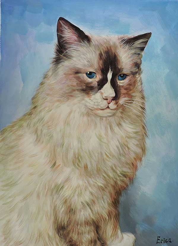 cat portrait painted in pastel