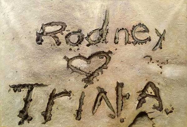 Love oil painting carved names on the sand