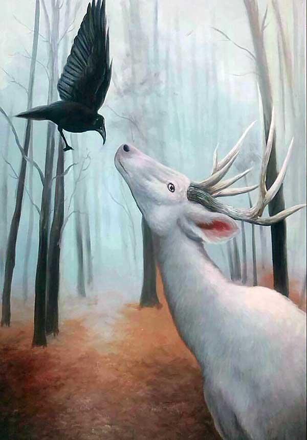 custom oil painting of wild animals in winter