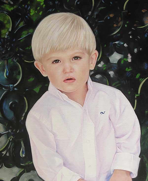 a custom oil portraot of a blonde boy in white outfit