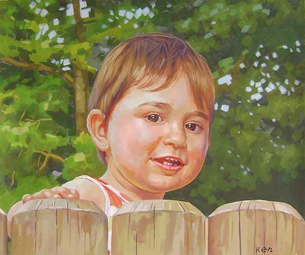 bambino ritratto a pastello da fotografia