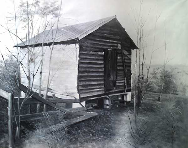 Stunning charcoal drawing of a house detailed
