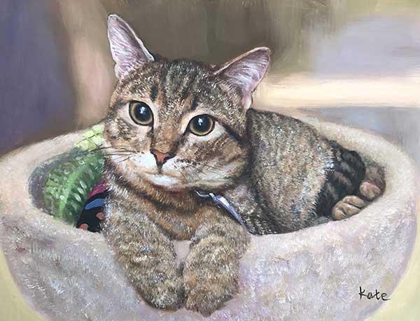Ritratto ad olio da fotografia gatto