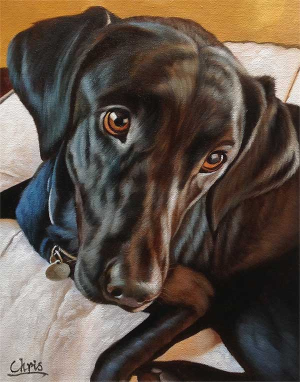 Black lab oil painting portrait beautiful