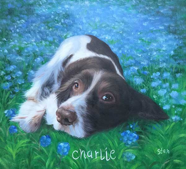 Oil painting of a cute dog laying in a field of blue flowers