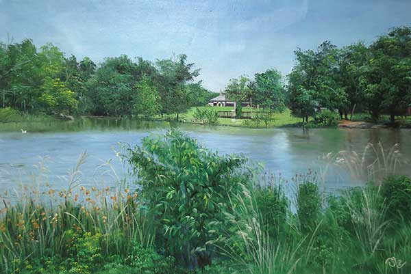 beautiful oil landscape of a lake and a house on the shore
