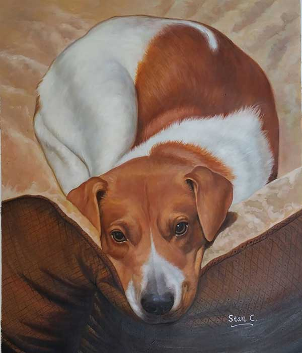 Stunning oil painting of a dog lying