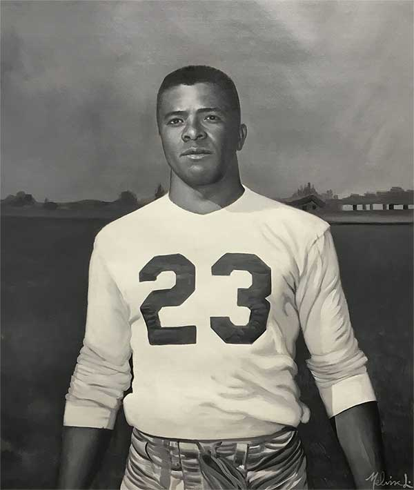 oil painting of a american football player