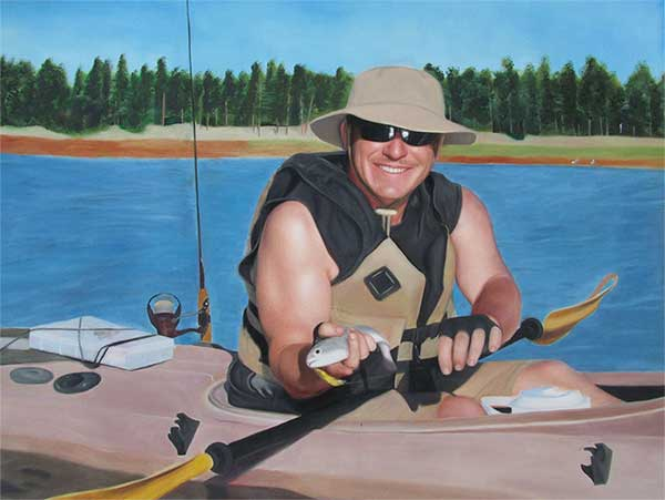 an acrylic painting of a man fishing in his canoe