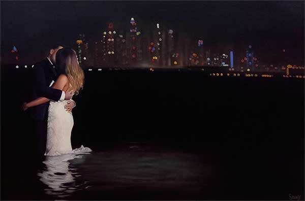 a beautiful painting of romantic couple in lake by night