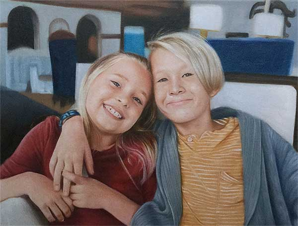 an oil painting of two kids