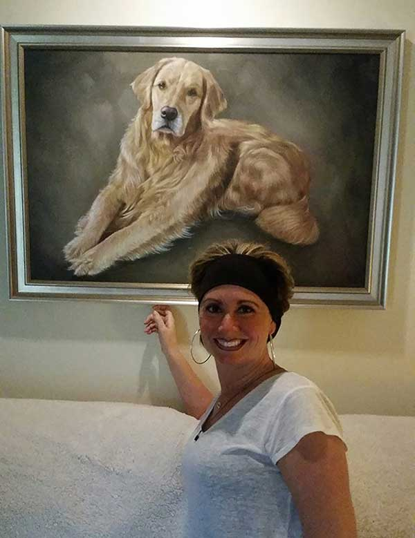a beautiful oil painting of a golden retriever