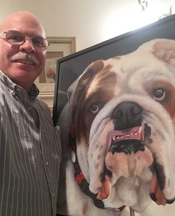 a painting of a english bulldog