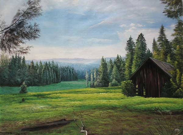 an oil painting of a green field landscape